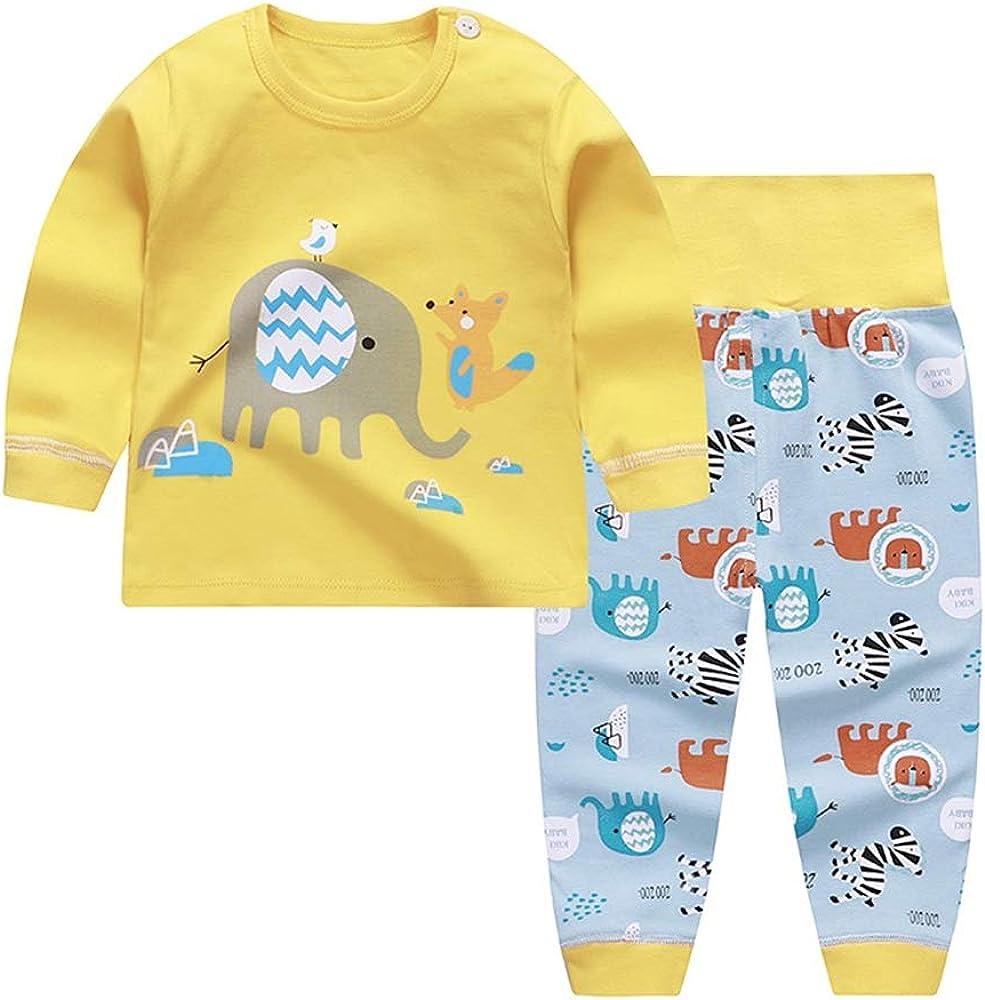 Chickwin Ensemble de Pyjama B/éb/é Enfants Filles Gar/çons Pyjamas Set Taille Haute Pantalon V/êtement de Nuit 100/% Coton 0-5 Ans Top Manches Longues