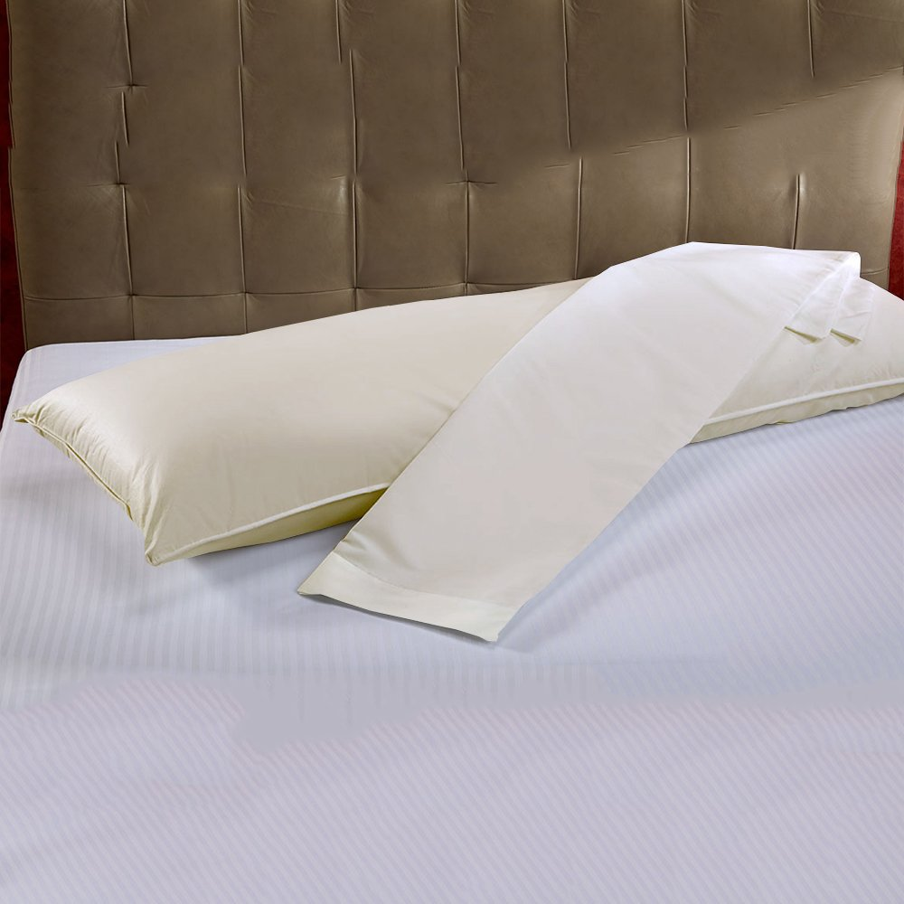 Rajlinen Body Pillow Cases - 100% Cotton Luxury 600-Thread Count Sateen Finish 2 Qty 20''X60'' Size - Ivory Solid