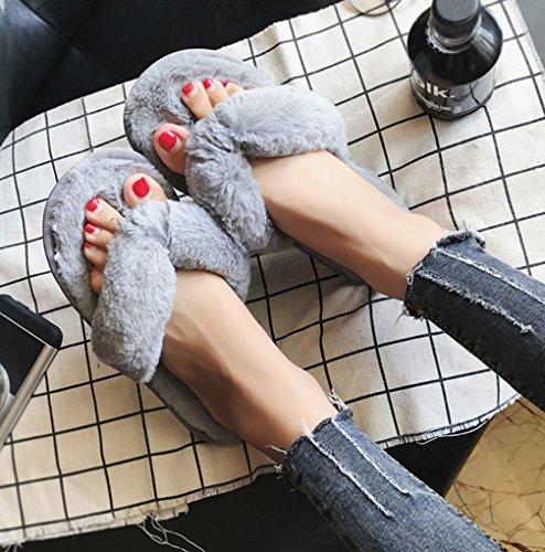 Comfortabele Comfortabele Pantoffels Voor Dames, Indoor Harige Pantoffels Grijs