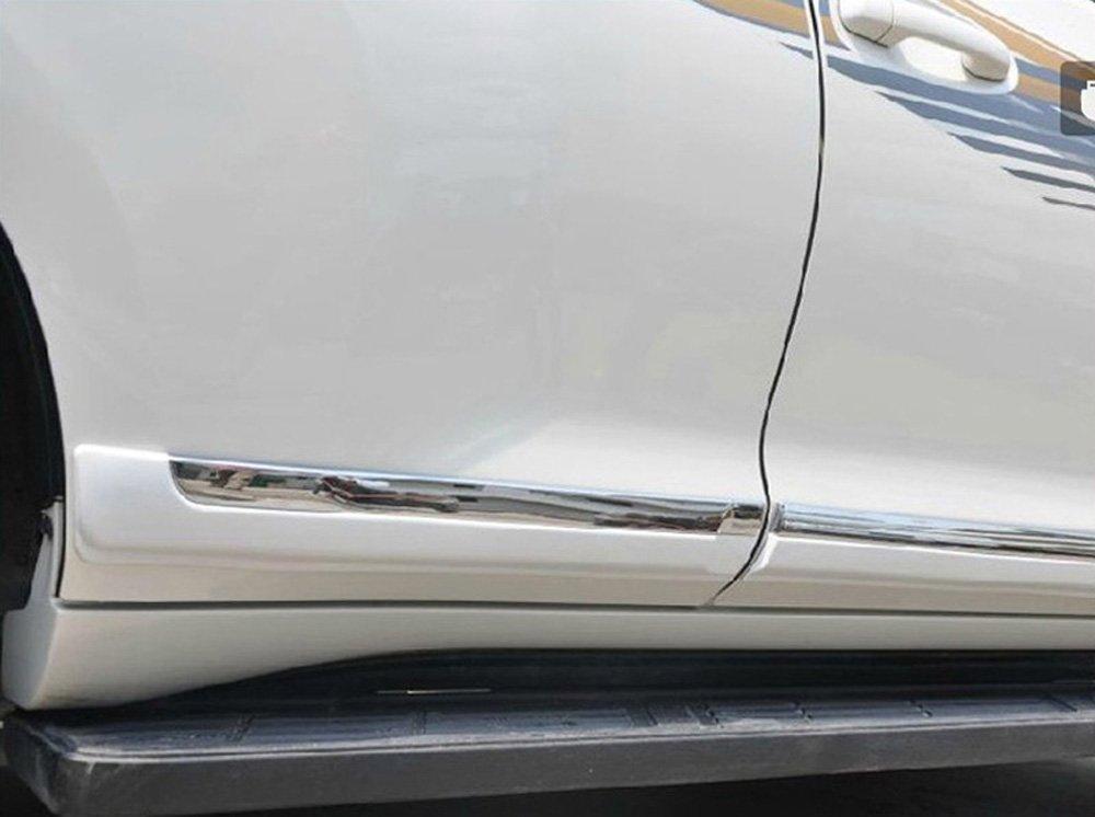 Fundas de moldura para puerta lateral de coche para Toyota Land Cruiser Prado J150 2010 2011 2012 2013 ABS plástico cromado + pintado blanco 4 piezas S/SET: ...