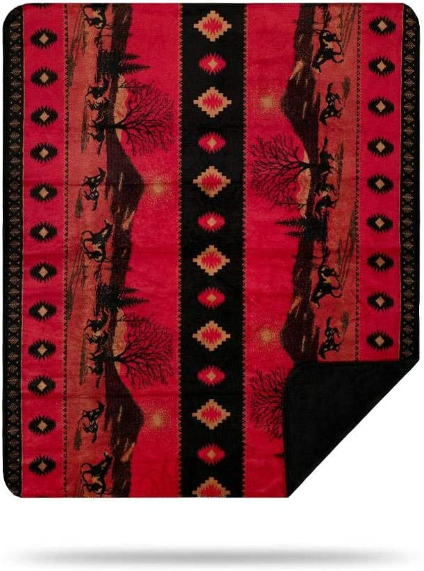 Denali Ultimate Comfort Western Throw Blanket, Plush, Hand-Stitched, Super Cozy Blankets Made in The USA, Red Running Horses