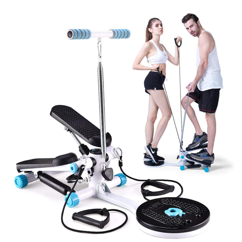 Swing Stepper,2-in-1 Stepper Multi-Function Mini Stepper Home Trainer with LCD Display and Handle Body Twister for Home Office (Color : Blue)