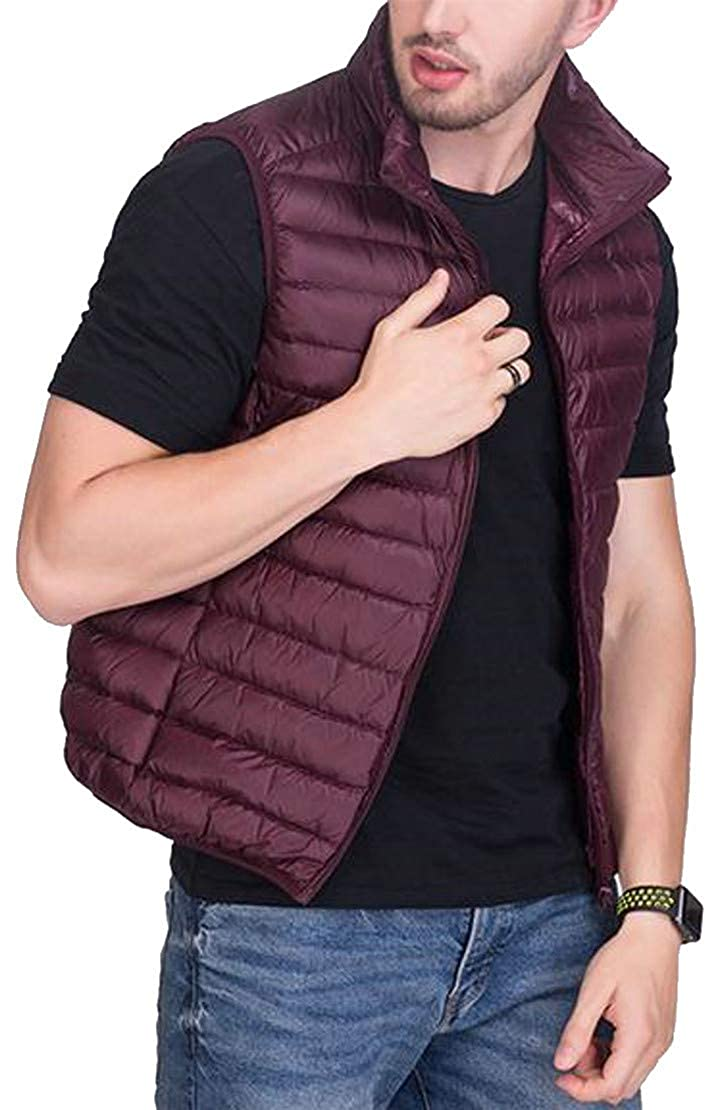 Cromoncent Men Thin Stand Neck Lightweight Sleeveless Quilted Zipper Jacket Down Vest