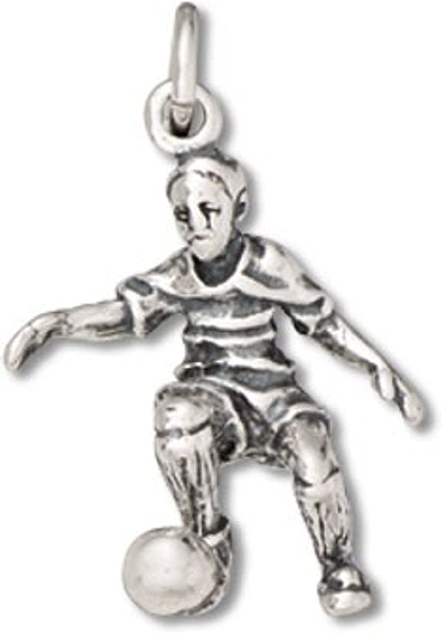 Sterling Silver Girls .8mm Box Chain 3D Soccer Player Pendant Necklace