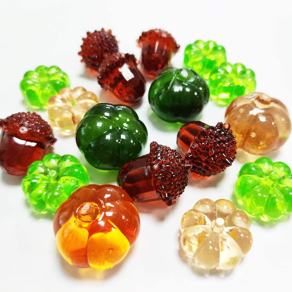 Filler Thanksgiving Fall Decor Mini Artificial Acrylic Pumpkin Gems Glass Table Scatters Acrylic Acorn Plastic Pine Cone for Harvest Decor,Autumn,Fall,Halloween