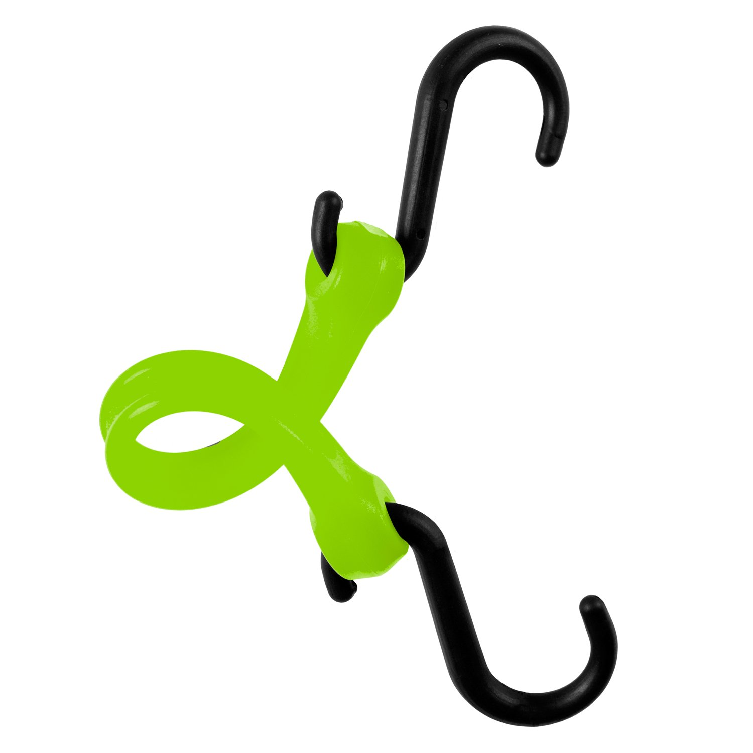 The Perfect Bungee by BihlerFlex, PBNH12G4PKP Standard Duty Strap, Nylon Hook, 12'', Safety Green, 4-Pack