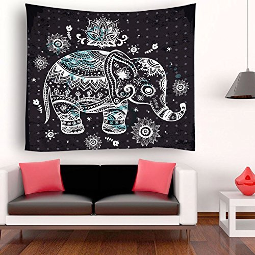 ENJOHOS Black and Blue Cute Elephant Tapestry Bedroom India Mandala Elephant Wall Hanging for Living Room Home Decor Wall Art