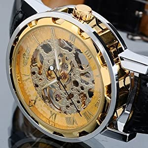 Vantasy Men's Luxury Gold Plated Stainless Steel Hand Wind Skeleton Analog Mechanical Black Leather Wrist Watch