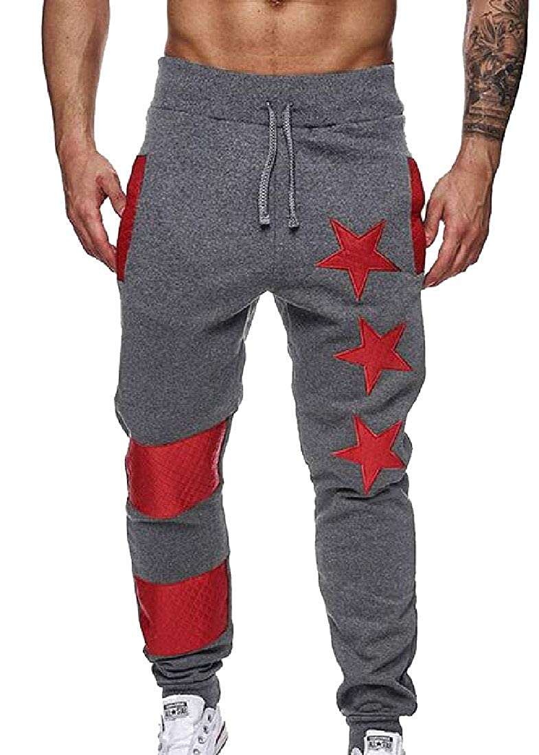 Keaac Mens Casual Star Print Splicing Jogger Multi Pocket Baggy Jogging Pant Sportwear