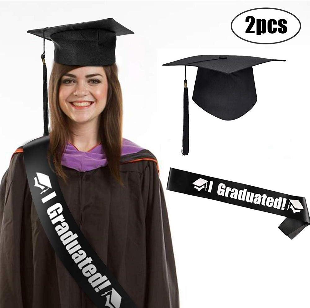 Sombrero Graduación, Sombrero Graduación Maestro, Cinturón I Graduate!, Decoración para Ceremonia Graduación Universitaria, Negro, Unisex, Tamaño Ajustable