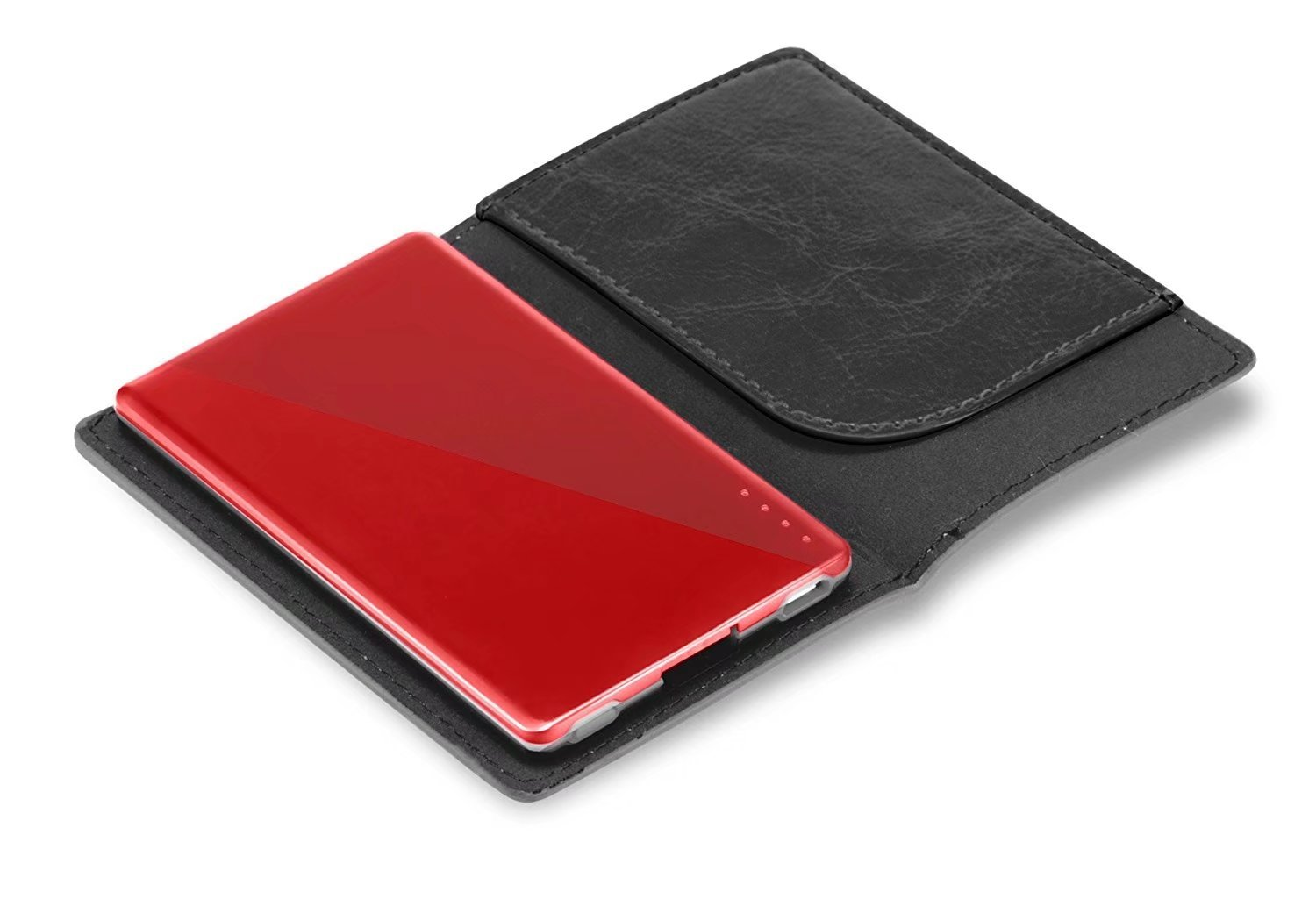 The world's thinest credit card sized portable charger power bank - 2200mAh - with a business card/bank card slot leather pouch coming together .BUB75
