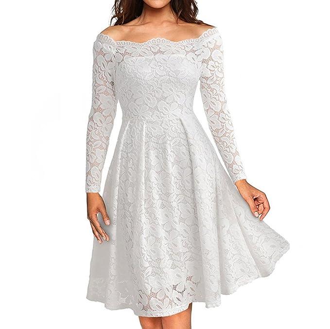 5779b7721e99 Modaworld Vestiti Donne Elegante Gonna Vintage off Spalla Pizzo Formale Sera  Vestito Abito Manica Lunga da Sera Colore Solido Abito Partito Casual Moda  ...