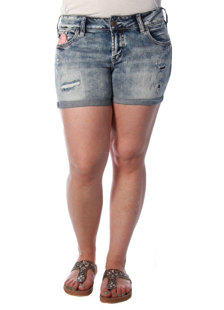 Silver Jeans Women's Suki Perfectly Curvy-Fit Mid-Rise Light Wash Short, Light Marble Wash, 28