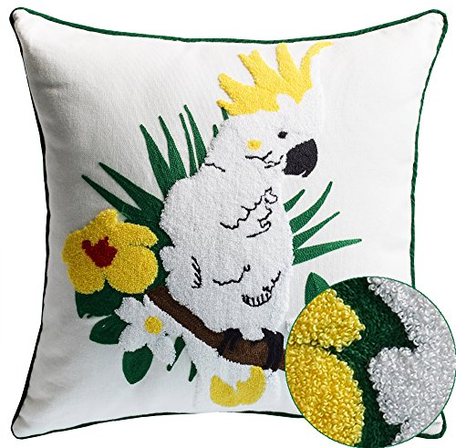 (Cockatoo Tropical Bird Embroidery Decorative Throw pillow Cover with Beautiful white and yellow flowers and a Cockatoo perched in the center Indoor and Use make for a great gift Idea 18x18 inc)