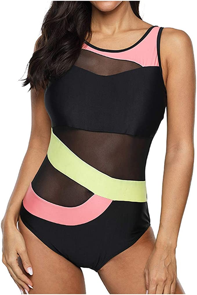 Leslady Badeanzug Damen Bauchweg Einteiler Figurformend Farbverlauf Kreuz Push up Gro/ße Gr/ö/ßen Sportlich Beachwear Bademode Schwimmanzug