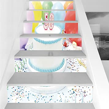 Stair Stickers Wall Stickers6 PCS Self Adhesive50th Birthday Decorations White