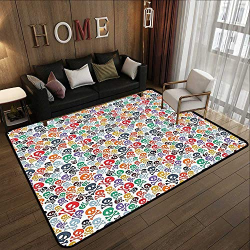 Office Floor mats,Skulls Decorations,Halloween Theme Colorful Skulls and Crossbones 35