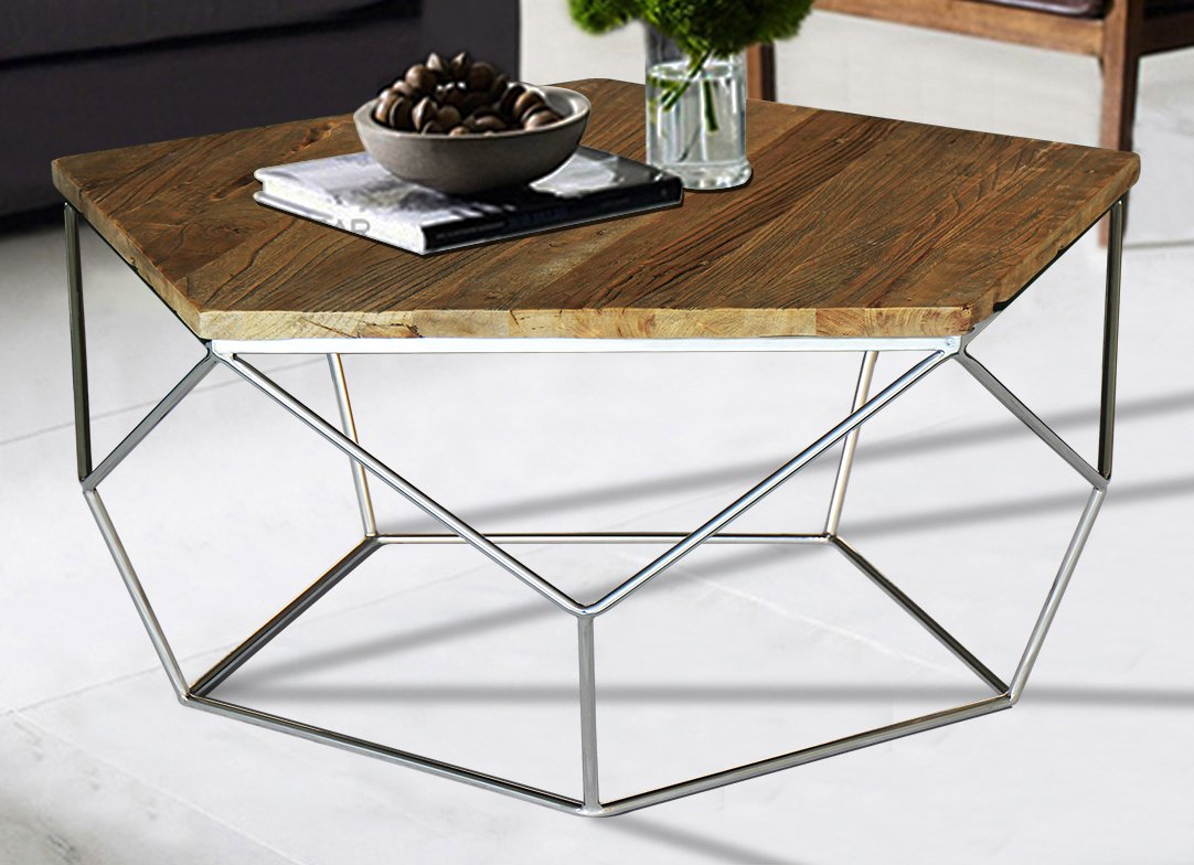 "Magari Furniture Pentagono Reclaimed Elm Wood Coffee Table - Reclaimed elm wood Stainless Steel 31.5"" x 31.5"" x 16.5"" - living-room-furniture, living-room, coffee-tables - 61WicvocDnL -"