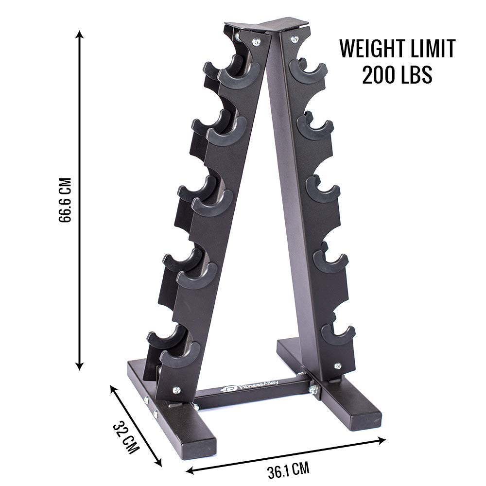 Fitness Alley Steel Dumbbell Rack - 5 Tier Weight Holder & 5 Tier Weight Rack Dumbbell Stand - Dumbbell Holder - Dumbbell Rack Stand - Weight Racks for Dumbbells of All Sizes by Fitness Alley (Image #3)