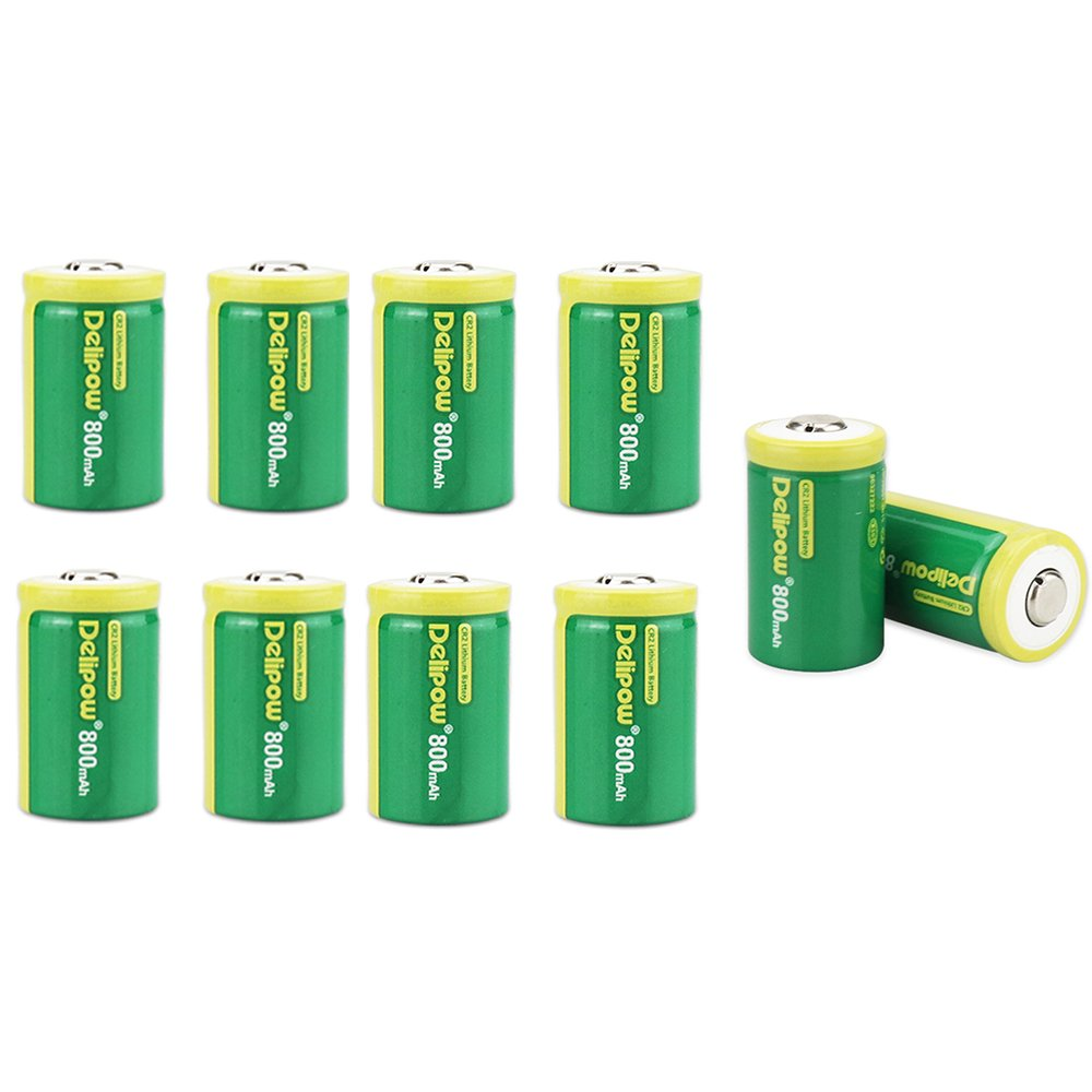 Delipow CR2 Rechargeable Batteries, 3-Volt 800mAh, Lithium Photo Battery, MSDS Certificated, Pre-Charged (10-Pack)