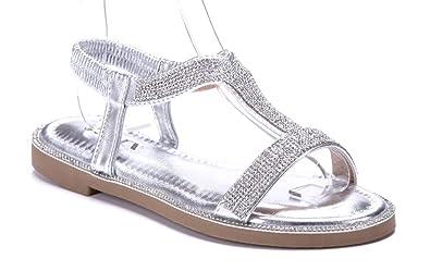 10cefecbd229d7 Schuhtempel24 Damen Schuhe Sandalen Sandaletten Silber flach Ziersteine 2 cm