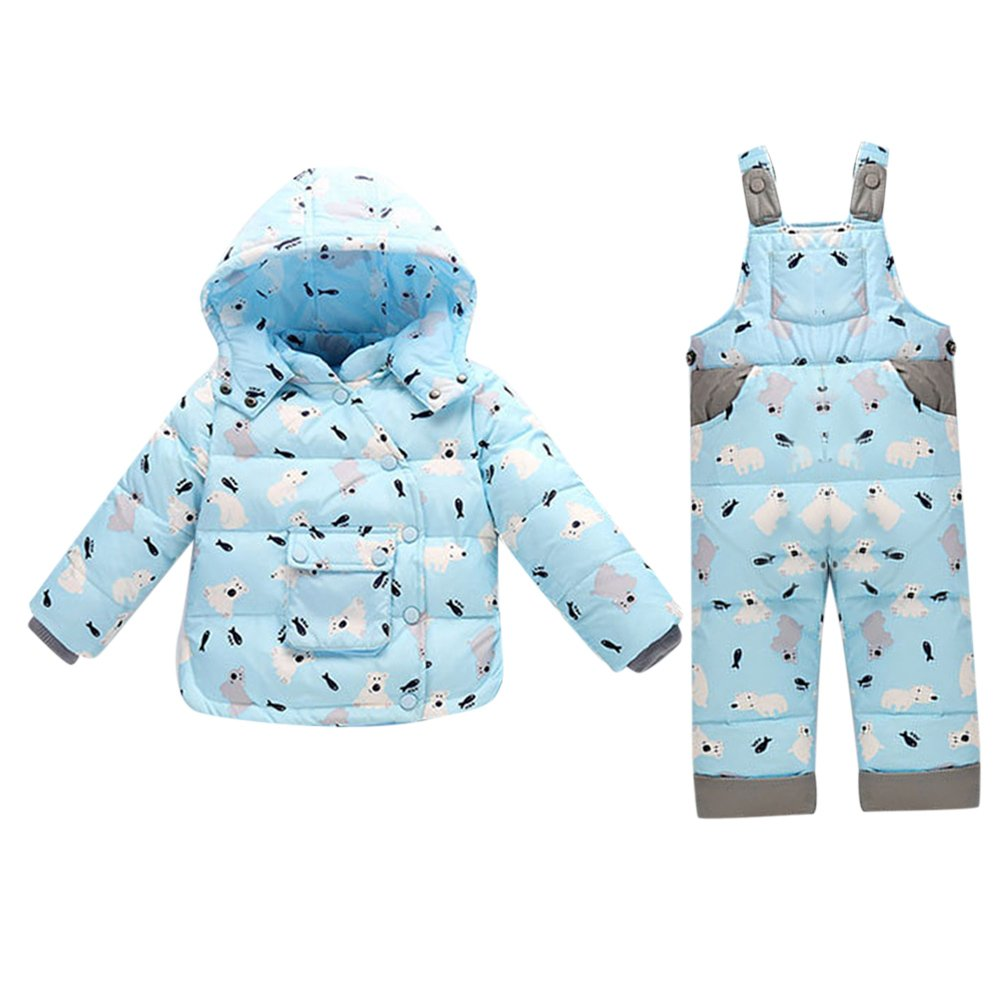 Zhhlinyuan Winter Pattern Long Sleeves Windproof Jacket for Girls Boys Comfortable