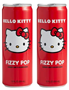 Hello Kitty Fizzy Pop Soda 12 Fl. Oz Pack Of 2! Lime And Sweet Cherry Flavored Soda! Non Caffeinated Flavored Drink! Fruity And Refreshing Japanese Soda!