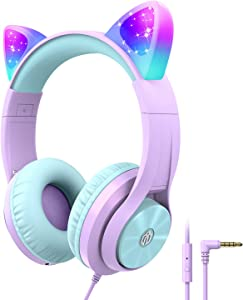 iClever HS20 Cat Ear Led Light Up Kids Headphones with Microphone -Shareport- 94dB Volume Limited, Foldable Over-Ear Wired Headphones for Kids Gifts/School/iPad/Kids Tablet/Travel, Purple