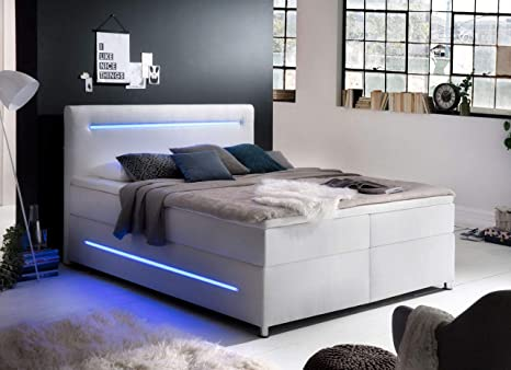 lifestyle4living Cama con somier 180 x 200, Color Blanco ...