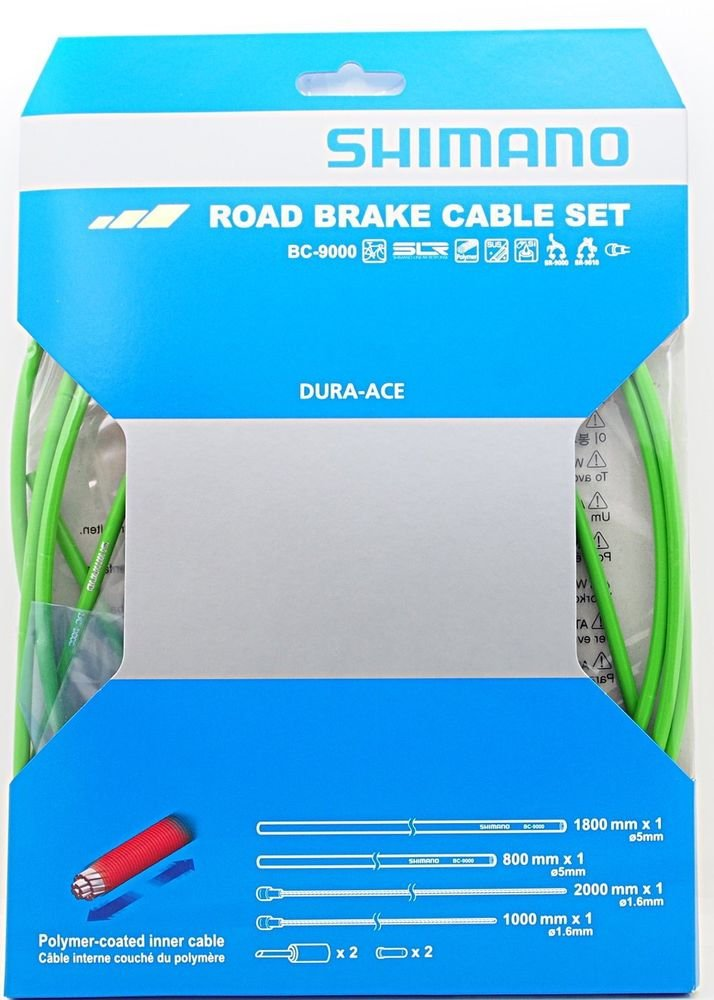 SHIMANO Polymer Road Bicycle Brake Cable Set - BC-9000 (Green) by SHIMANO