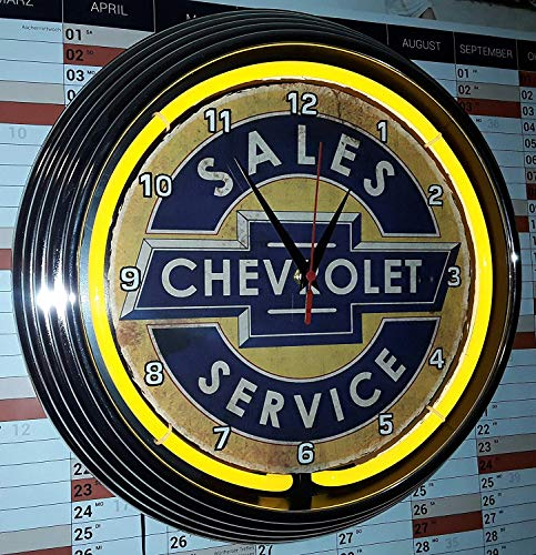 NEON Clock Aged Chevrolet Sales Service Badge Sign WALLCLOCK Shining with Yellow NEON Rim!-Working with Silent Movement!