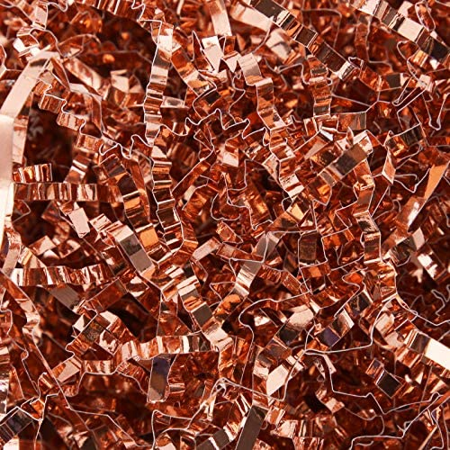 ROSEGLD 1 LB Crinkle Cut Paper Shred Filler Rose Gold Metallic for Packing and Filling Gift Baskets, Crinkle Paper for Gift Wrapping