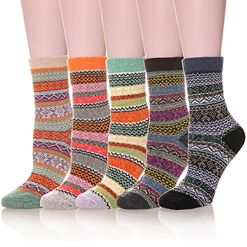 Womens 5 Pairs Soft Thick Comfort Casual Cotton Warm Wool Crew Winter Socks (5 Pairs Mixed Color)