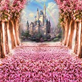 Fanghui Photography Backdrop Fairy Tale Castle Pink Children Princess Girls Photo Booth Backdground Studio Props Spring 6x6ft
