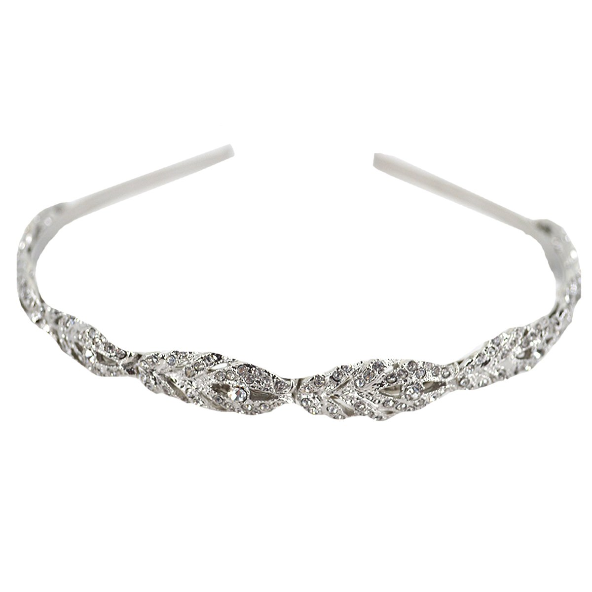 Sherry Headband Bridal Bridesmaid Flower Girl Crystal Hair Band Wedding Tiara Hair Accessories (Silver)