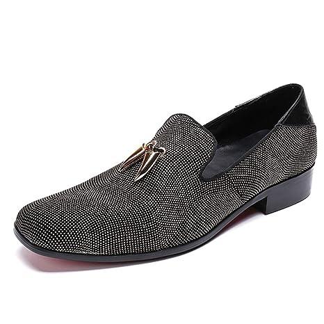 YAN Zapatos de Remaches para Hombres Caída de Cuero Mocasines y Zapatillas sin Cordones Calzados Formales