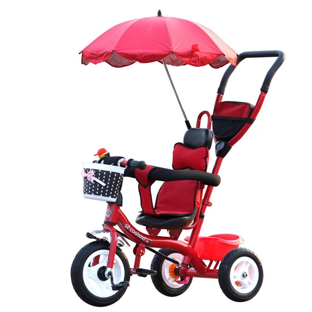 子供の三輪車の自転車1-5歳のトロリーの赤ちゃんのキャリア子供の自転車、紫/ピンク/赤/青、71 * 105cm ( Color : Red ) B07C5HB94T