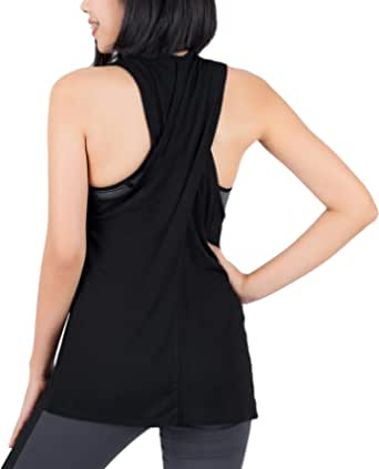 Lofbaz Women Cross Back Yoga Shirt Activewear Workout Clothes Racerback Tank Top