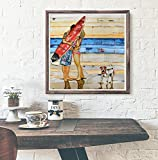 Eyewitness-Danny-Phillips-art-print-UNFRAMED-Beach-surfboard-dog-couple-sun-coastal-beach-nautical-mixed-media-art-wall-home-decor-poster-ALL-SIZES