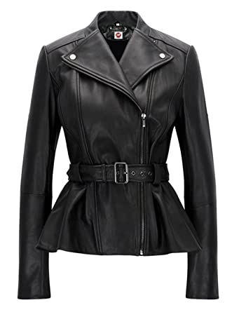 Takitop Belle Woman Black Biker Motorcycle Belted Peplum Leather Jacket at Amazon Womens Coats Shop