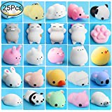 Outee Mini Squishies Animals, 25 Pcs Animal Toys Stress Relief Cat Squishy Stress Relief Animal Mochi Cat Squishy Squeeze Mini Squishies Seal Rabbit Chicken Duckling Elephant Sheep Cat, Random color