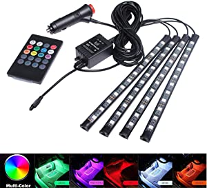 BLIAUTO Car Led Strip Car Interior Lights RGB with Sound Active Function, Wireless Remote Control for Jeep Car Truck Boat(8 Colors,48LED)