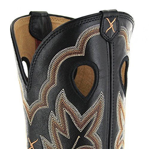 Stock Boots Twisted Women's Square Cowgirl Ruff Black Leather Embroidered X Toe 64Uq4g