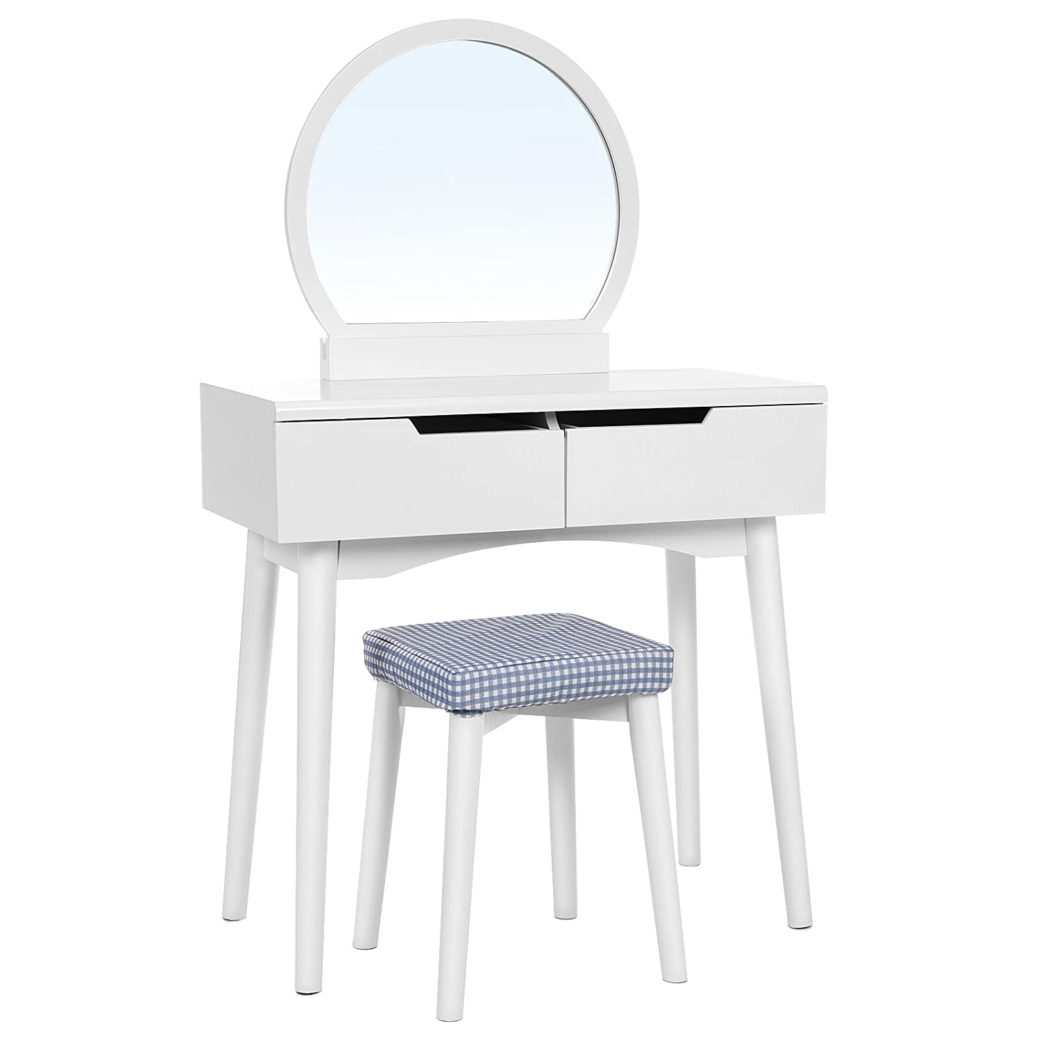 SONGMICS Vanity Table Set with Round Mirror 2 Large Sliding Drawers Makeup Dressing Table with Cushioned Stool White URDT11W