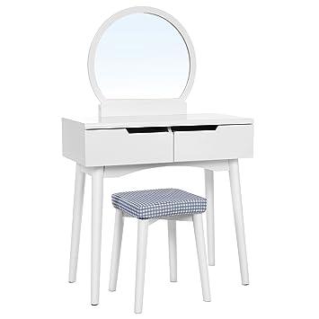 Amazon Com Vasagle Vanity Table Set With Round Mirror 2 Large