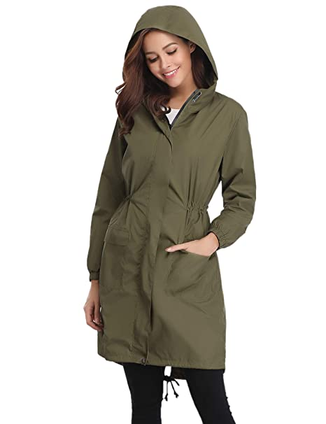 feb60276a Abollria Womens Outdoor Waterproof Lightweight Windbreaker Raincoat Hooded  Rain Jacket