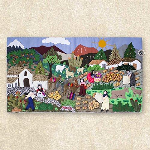 "Wall Hanging Quilt 10""x17.7"", Arpillera art work tapestrie, 3D peruvian textile artwork, Embroidered appliques of fabric, Peru textiles"