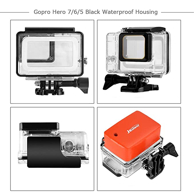 Husiway Accessory Kit for GoPro Hero 7 6 5 Black Waterproof Case Housing Silicone Protector Screen Film for Go pro Hero7 Hero6 Hero5 Bundle Set 57C