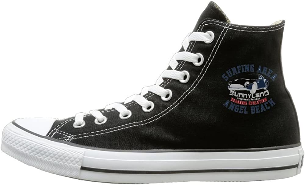 Shenigon Mark Canvas Shoes High Top Casual Black Sneakers Unisex Style