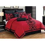 Divano Roma 10-Piece Queen Comforter Set, Black/Red